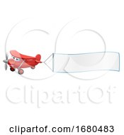 09/24/2019 - Airplane Pulling Banner Cartoon Character