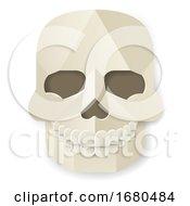 Poster, Art Print Of Halloween Skull Paper Craft Style