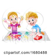 Poster, Art Print Of Cartoon Kids Playing
