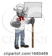 Poster, Art Print Of Rhino Chef Cartoon Restaurant Mascot Sign