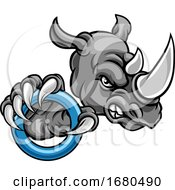 Poster, Art Print Of Tough Rhino Monster Mascot With A Ringette