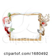 Santa Claus And Reindeer Christmas Sign Cartoon