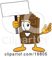 Clipart Picture Of A Chocolate Candy Bar Mascot Cartoon Character Holding A Blank Sign by Toons4Biz