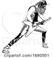 Poster, Art Print Of Black And White Guitarist