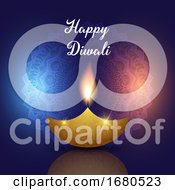 Diwali Background With Oil Lamp On Decorative Mandala Design