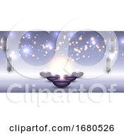 Diwali Banner With Hanging Lanterns And Oil Lamps