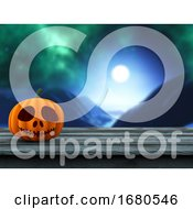 3D Pumpkin On A Wooden Table Against A Defocussed Spooky Landscape