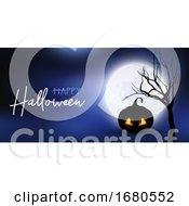 Halloween Banner With Spooky Pumpkin Against Moonlit Sky