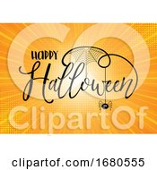 Halloween Text On Starburst Background
