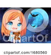 Crying Manga Girl Under A Full Halloween Moon And Bats