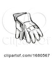 Gardening Gloves Garden Tool Cartoon Retro Drawing