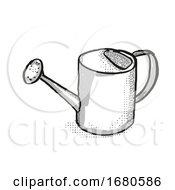 Watering Can Garden Tool Cartoon Retro Drawing