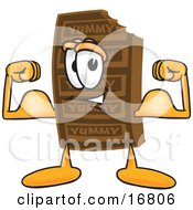 Clipart Picture Of A Chocolate Candy Bar Mascot Cartoon Character Flexing His Arm Muscles by Toons4Biz