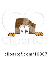 Chocolate Candy Bar Mascot Cartoon Character Peeking Over A Surface