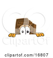 Clipart Picture Of A Chocolate Candy Bar Mascot Cartoon Character Peeking Over A Surface by Toons4Biz