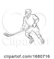 Ice Hockey Player Cartoon Isolated