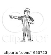 American Football Official Cartoon Black And White