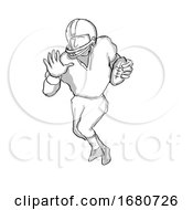 American Football Player Cartoon Black And White