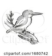 Kingfisher New Zealand Bird Cartoon Retro Drawing