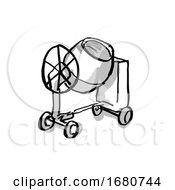 Cement Mixer Cartoon Drawing