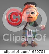 3d Cartoon Scottish Man In Kilt Holding A Red Copyright Symbol 3d Illustration