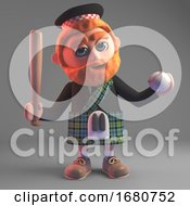 Cartoon 3d Scottish Man In Kilt With Sporran Holding A Baseball Bat And Ball 3d Illustration