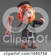 3d Cartoon Scottish Man In Kilt Throwing A Bone 3d Illustration