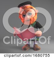 3d Cartoon Scottish Man In Kilt And Sporran Reading A Book 3d Illustration