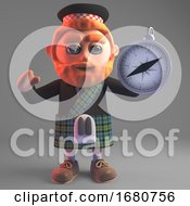 3d Cartoon Scottish Man In Kilt Holding A Magnetic Compass 3d Illustration