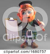3d Cartoon Red Bearded Scots Man In Kilt Holding A Clipboard And Pencil 3d Illustration