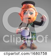 Poster, Art Print Of Cartoon 3d Scottish Man With Red Beard Wearing A Kilt And Drinking A Cup Of Coffee 3d Illustration