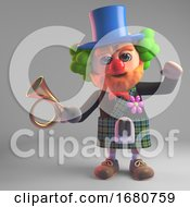 Funny Cartoon 3d Scottish Man In Kilt Wearing A Clown Red Nose And Holding An Old Car Horn 3d Illustration