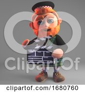 Cartoon 3d Red Bearded Scottish Man In Kilt And Sporran Holding A Movie Slate 3d Illustration