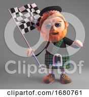 Scottish Man In Kilt Waving A Checkered Flag 3d Illustration