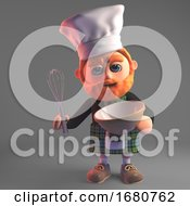 3d Cartoon Red Bearded Scottish Man In Kilt Mixing A Cake With A Whisk 3d Illustration