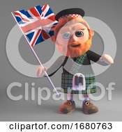 Cartoon 3d Scottish Man In Kilt And Sporran Waving A Union Jack British Flag 3d Illustration
