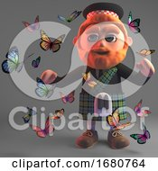 3d Cartoon Scottish Man With Beard And Kilt Surrounded By Butterflies 3d Illustration