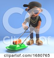3d Cartoon Black Hiphop Rapper Emcee Mowing The Lawn With A Lawnmower 3d Illustration