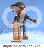 Poster, Art Print Of Cartoon 3d Black Hiphop Rapper Emcee Lecturing At The Lectern 3d Illustration
