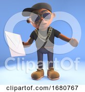 Cartoon 3d Black Hiphop Rapper Emcee Character Holding An Envelope Email Mail Message 3d Illustration