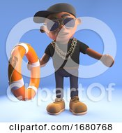 Cartoon 3d Black Hiphop Rapper Emcee Offering A Life Preserver Lifering 3d Illustration