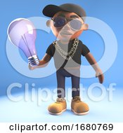 Cartoon 3d Black Hiphop Rapper Emcee Character Holding A Lightbulb 3d Illustration