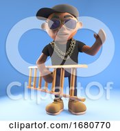 Cartoon 3d Black Hiphop Rapper Emcee Character Carrying A Ladder 3d Illustration