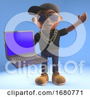 3d Cartoon Black Hiphop Rapper Emcee Holding A Laptop Pc Computer 3d Illustration