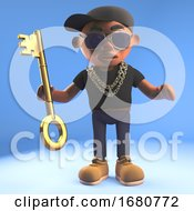 3d Black Cartoon Hiphop Rapper Emcee Holding A Symbolic Gold Key 3d Illustration