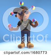 3d Cartoon Black Hiphop Rapper Emcee Character Juggling With Juggling Balls 3d Illustration