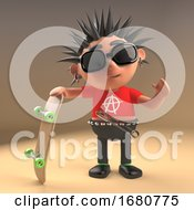 Spiky Haired Cartoon 3d Punk Rock Teenager Holding A Skateboard 3d Illustration