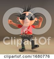 Dancing 3d Cartoon Punk Rocker Character With Spiky Hair 3d Illustration
