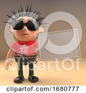 Cartoon 3d Punk Rocker Teenage Character Holding A Blank Banner 3d Illustration