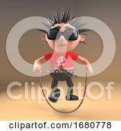 3d Cartoon Punk Rock Teenager With Spiky Hair Skipping With A Skipping Rope 3d Illustration